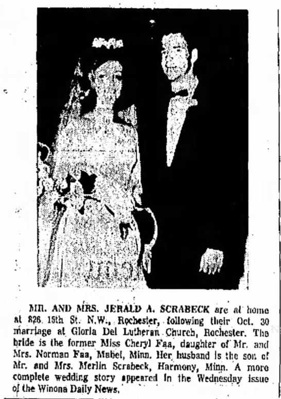 Faa Cheryl Wedding - Mil. AND MRS. JERALD A. SCRABKCK arc nl at 826...