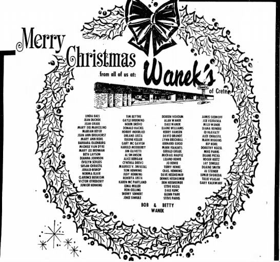 Gerald &  Jean Graul Waneks Dec 1974 - an s a y s : Ihristmas from all of us at: Of...