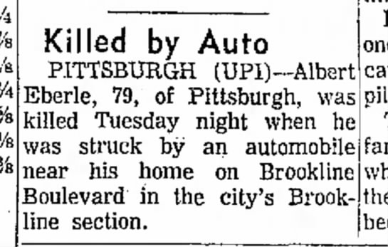 - ¥4 % Vs % Killed by Auto PITTSBURGH...