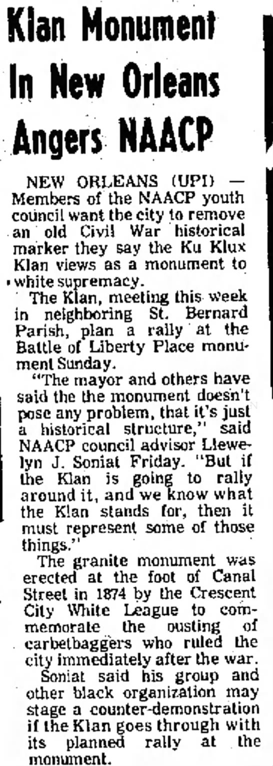 Simpsons Leader Times Sept 11, 1976 p.13 Liberty Monument - Mask, Kian Monument In New Orleans Angers NAACP...