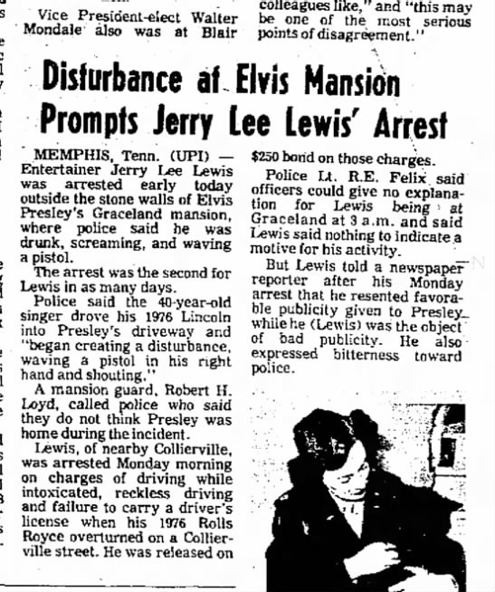 jerry lee  23 nov 1976 - the in and The York take the Outer mid- Vice...