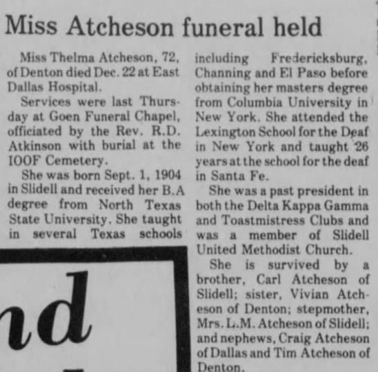 Miss Thelma Atcheson Funeral Held - Miss Atcheson funeral held Miss Thelma...