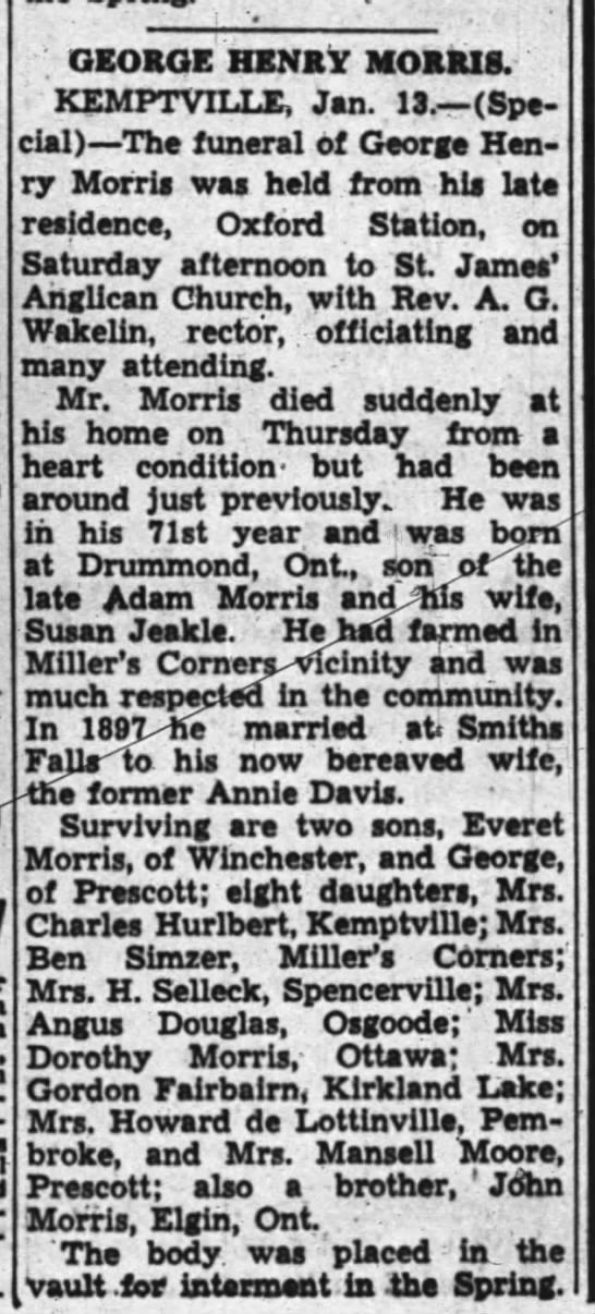 George Henry Morris Obituary - GEORGE HENRY MORRIS, KEMPTVrLLE, Jan. 13. (Spe...
