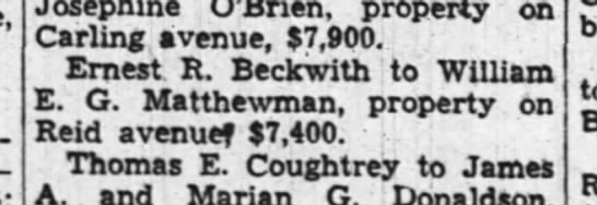 City Registry Office, property sales for May 1942 - 4-year-olds Josephine O'Brien, property on...