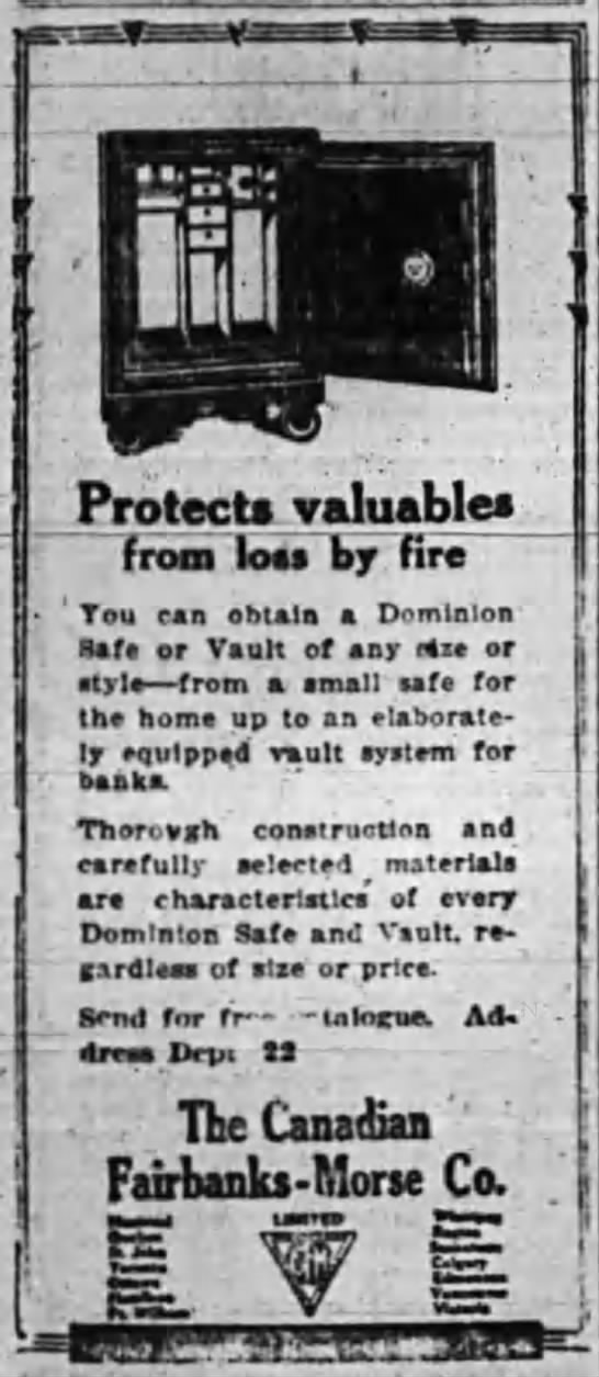 Dominion Safe Advertisement 1914 - I ProtecU valuable frooi Iom by fire ' Too can...