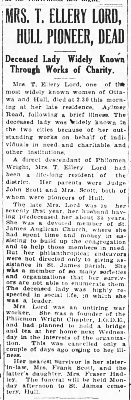 LORD_1921(Oct22)_MrsTE-obit-OttJ - MRS. T. ELLERY LORD, HULL PIONEER, DEAD...