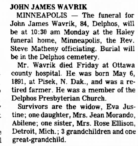 Grandma's dad - the funeral 9 pm the Grubb L. at the JOHN JAMES...