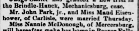 JohnParkMaudMarr3/21/1891 - the Brindlo - Hanck, Mechacicsbnrg, case. Mr....