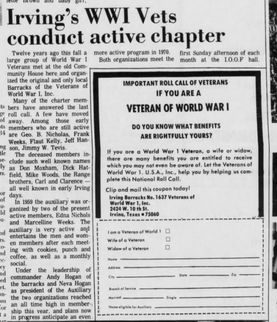 WWI Vets - Jim Winston Tevis - Irving's WWI Vets conduct active chapter Twelve...