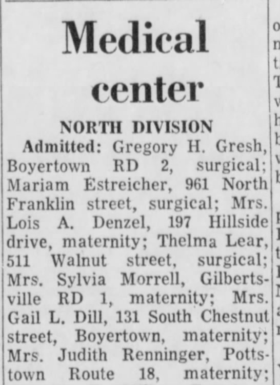 Gail Fisher Dill - Medical center NORTH DIVISION Admitted: Gregory...