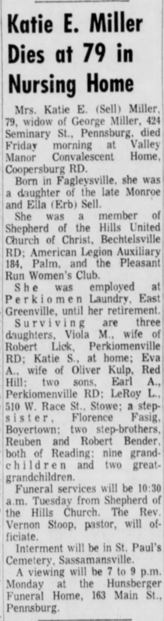 Katie Sell Miller - Katie E. Miller Dies at 79 in Nursing Home...