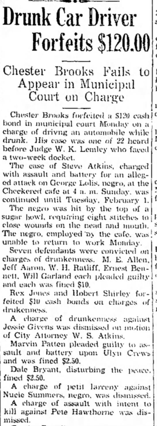 24 January 1938 p1 Hope Star Pete Hawthorne - Drunk Car Driver Forfeits $120.00 Chester...
