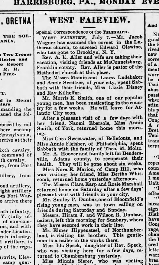 1890 July 7 Hbg Telegraph - HARRISBURG, PA., MONDAY GRETNA THIS SOLDIERS...