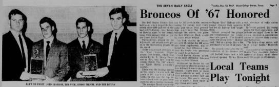 SFA 1967 - Broncos Of '67 Honored The 1967 Hrvan Bronco...