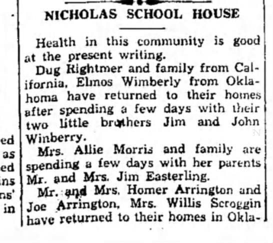 Winberry HS 20 May 1931 p2 - as in NICHOLAS SCHOOL HOUSE Health in this...