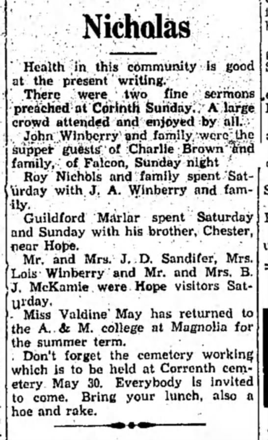 Winberry HS 27 May 1931 p2 - Nicholas Health ;ih this community -is good at...