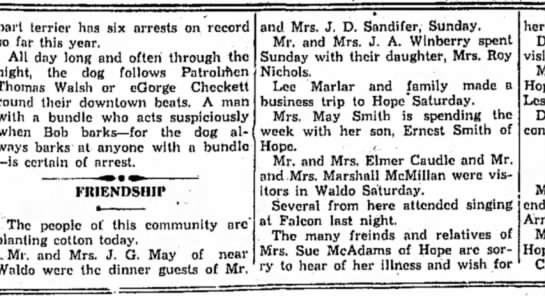 Winberry HS 16 May 1930 p3 - part terrier has six arrests on record so far...