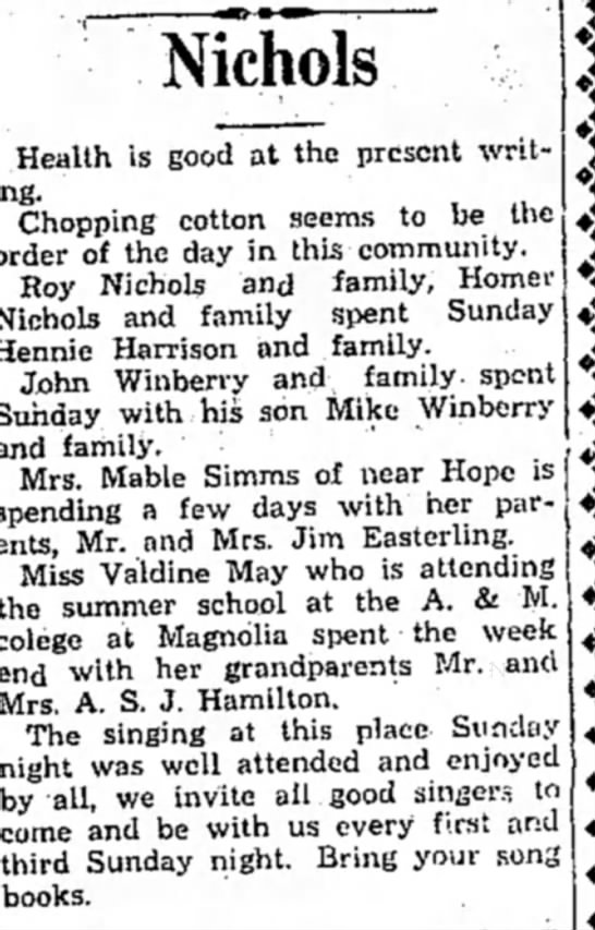 Winberry HS 10 June 1931 p4 - Nichols Health is good at the present writing....