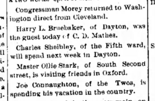 Harry L Bruebaker - a Congressman Morey returned to Wash- ugton...