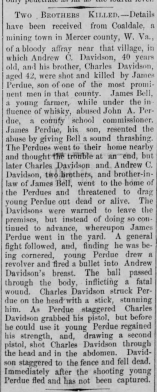 James Perdue 1909 shot and killed two brothers