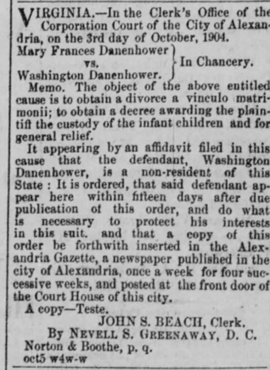 Washington & Mary Frances Smooth Danenhower divorce. - VIRGINIA.?In the Clerk's Office of the...