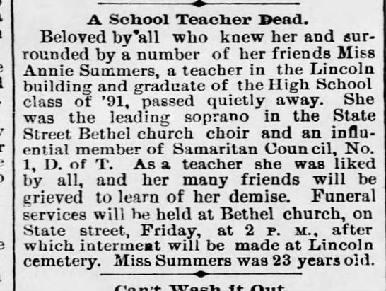 Annie Summers Bethel state Street - A School Teacher Dead. Beloved bv'all who knew...