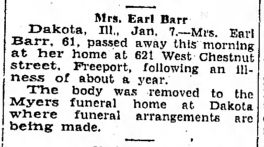 Mrs. Earl Barr death announcement
