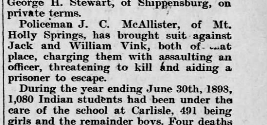 JC McAllister, Policeman - George H. Stewart, of Shippensburg, on private...