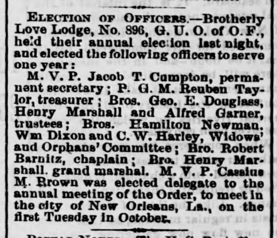 henry marshall brotherly election - j Election of Officers. Brotherly Love Lodge,...