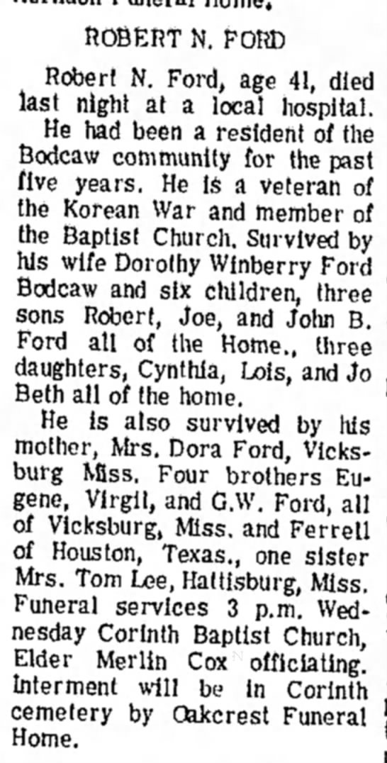 Winberry HS 18 Mar 1969 p1 - ROBERT N. FORD Robert N. Ford, age 41, died...