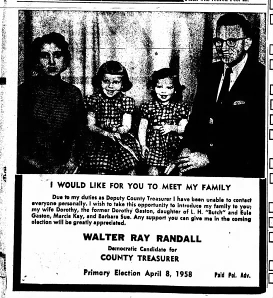 Political Ad 1958 - I WOULD LIKE FAMILY Due to my duties as Deputy...