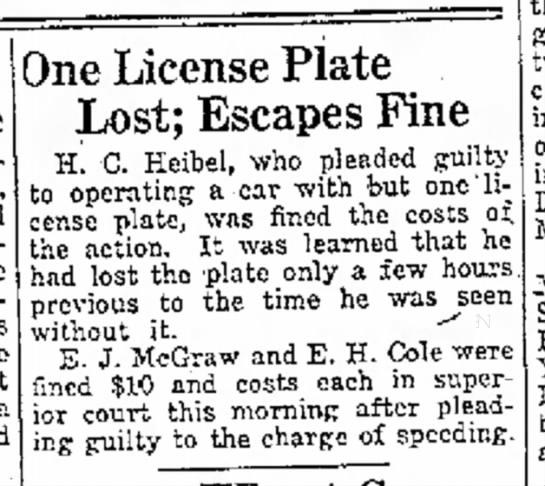 Friday, Aug 20 1920 - - a ;0ne License Plate Lost; Escapes Fme h! C....