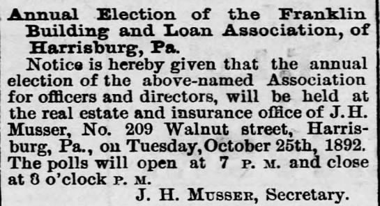 J H Musser real estate & insurance - Annual Election of the franklin Building and...