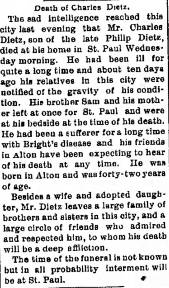 Charles Dietz, obit article, 25 Feb 1898 - Death of Charles Dietz. The sad intelligence...