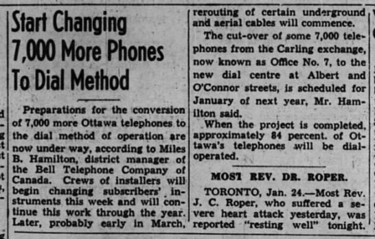 Ottawa dial conversion, 25 Jan 1940 - Start Changing 7,000 More Phones ToDii -...