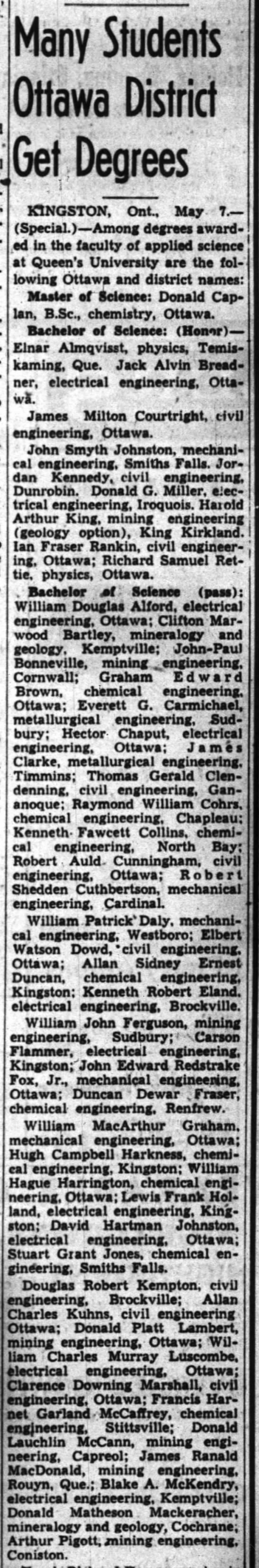 Blake McKendry, Queen's graduate, 8 May 1941 - Many Students Ottawa District Get Degrees...