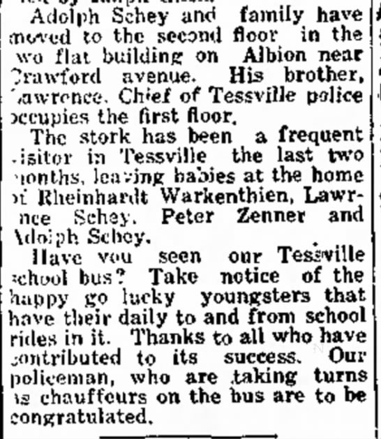 TESSVILLE, IL - baby girl - Oct 30, 1931 - Daily Herald (Chicago, IL) - L I C A L m Atloiph Schey family have moved to...