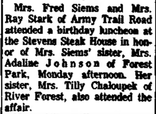 Tilly Chaloupek 1963 - Mrs. Fred Siems and Mrs. Ray Stark of Army...