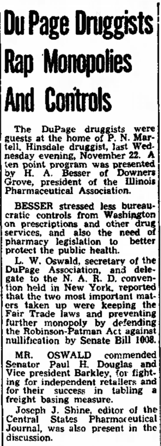 Henry Besser Du Page druggist - Mrs. the Du Page Druggists Rap Monopolies And...