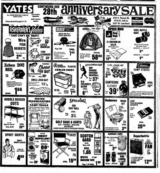 Yates April 27 1974 - ALL STORES OPEN DAILY I:M-9:30 SUNDAY 1:30-5...