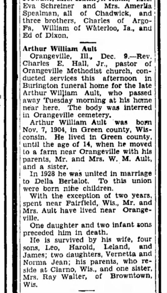 Aurthur William Ault obituary - Eva Schreiner and Mrs. Amerlia Spealman, all of...