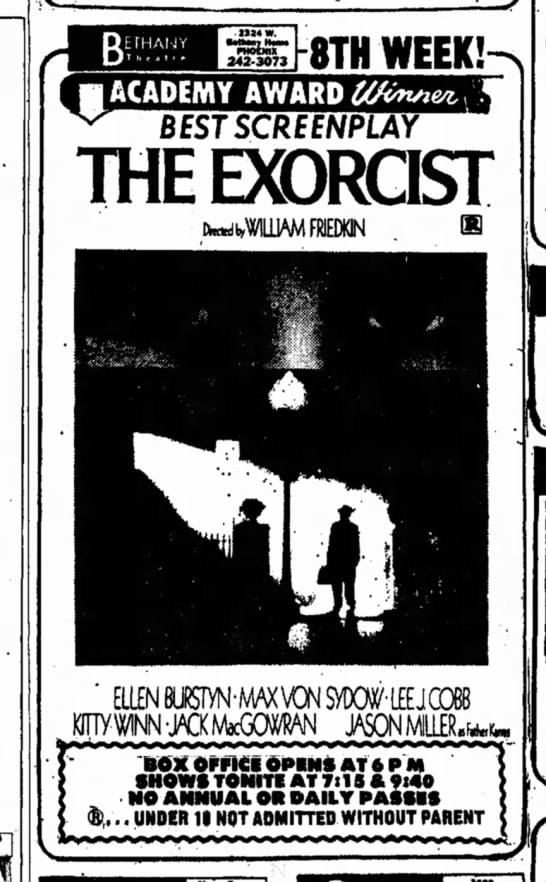 3 May 1974 - 8TH WEEK! BfSTSCREfNPLAr THE EXORCIST...