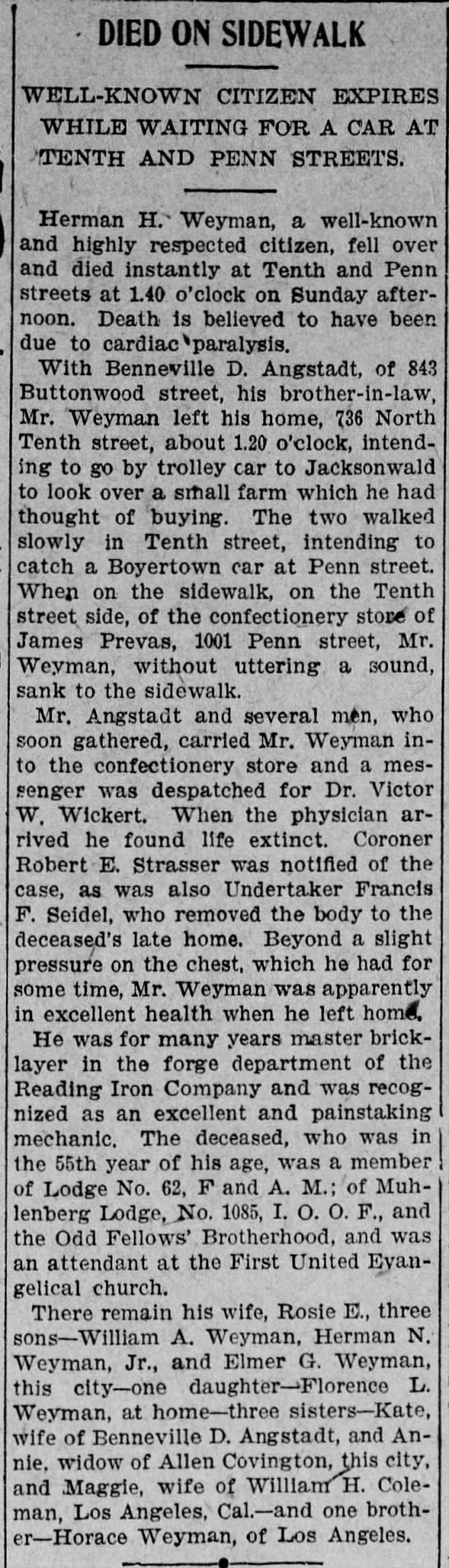 1907 Man dies on sidewalk outside James Prevas confectionary store, 1001 Penn St, Reading