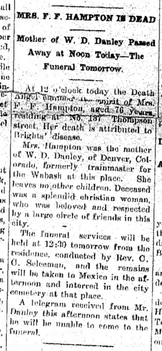 Moberly Monitor-Index - Aug 19, 1909 - all «i> of ( MRS. F. F, HAMPTON II »JEAD Mother...