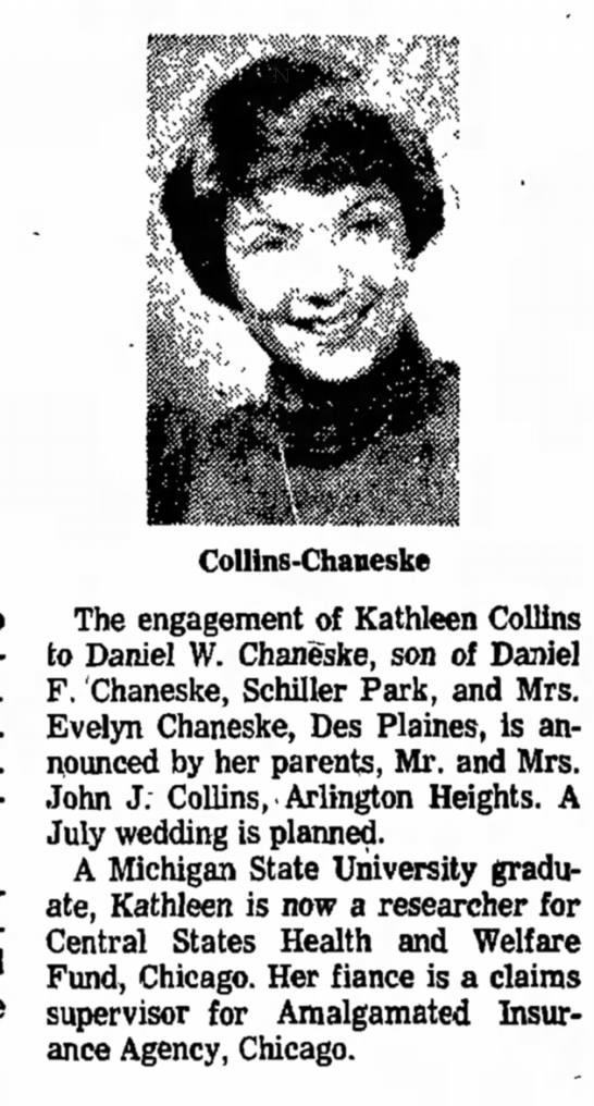 Kathleen Collins Weds Chaneske - Mrs. Mrs. August University the...