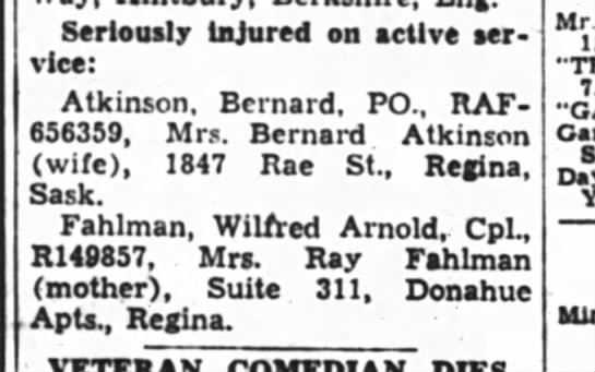 Wilfred Fahlman - Regina