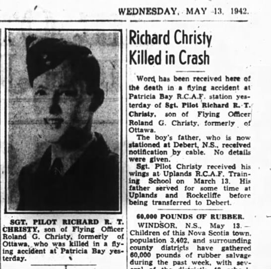 Christy's death - WEDNESDAY, MAY -13. -13. 1942 1 -V..i -V..i - ,...