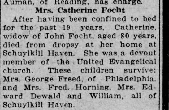 Catherine Focht obit 2 - Auman, of Reading, has charge. ' Mrs. Catherine...