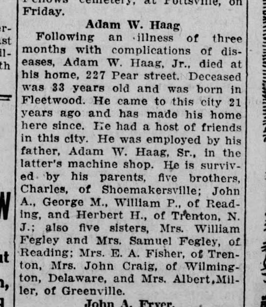Adam W. Haag Jr. obit - - on Friday. Adam W. Haag Following an -...
