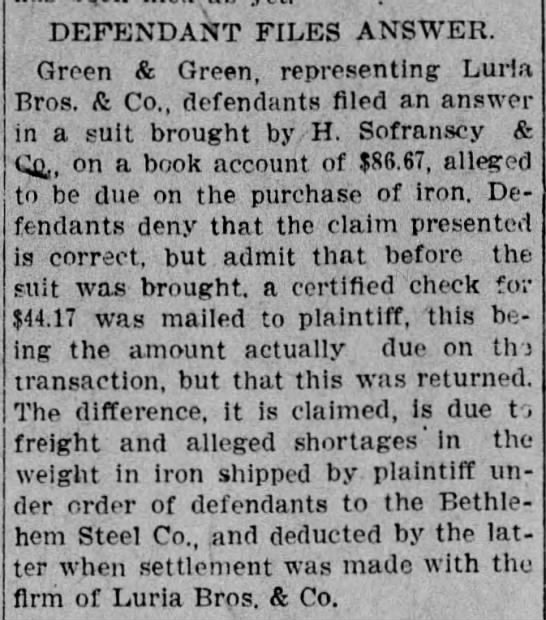 Lawsuit, H. Sofranscy Co., Allentown, 1908 - DEFENDANT FILES ANSWER. Green & Green,...